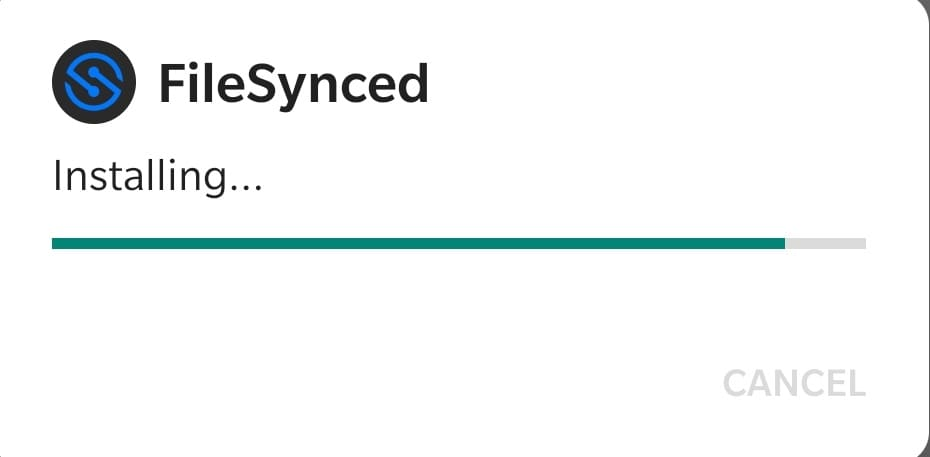 filesynced install on android